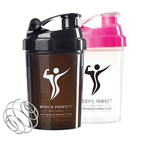 BODY\'S PERFECT Protein Shaker für Männer | Fitness Trinkflasche 500ml | BPA & DEHP Frei | Schwarz