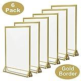 TOROTON T-Forme Présentoir, Golden Sided Acrylique Transparent Double D'annonce Affichage, Support pour Menus, pour Fête de Mariage - Lot de 6 (5 x 7 pouce/12,7 x 17,8 cm)