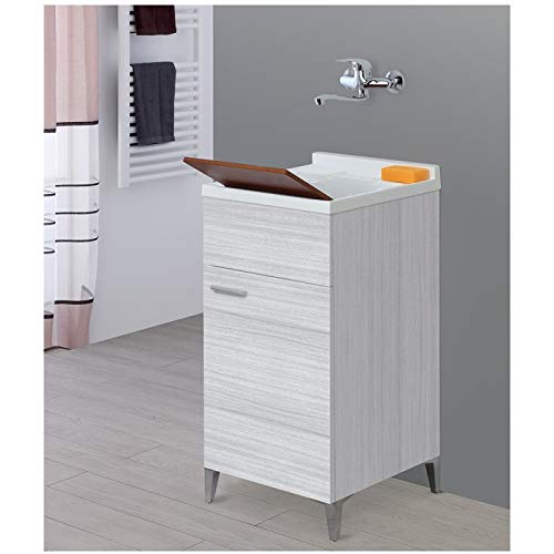 Mobile lavatoio da interno 45x50 colore grigio con vasca in resina e asse