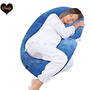 Coozly Alpha Full Body Maternity Pillow - Maternity Pillow with Removable Cover (Velvet Cyan Blue, Velvet Cover)