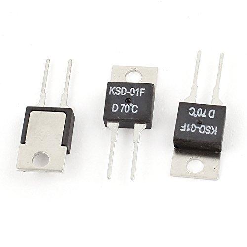 sourcingmap 3 piezas KSD-01F 70 Centígrados Interruptor de temperatura cierre normal Termostato...