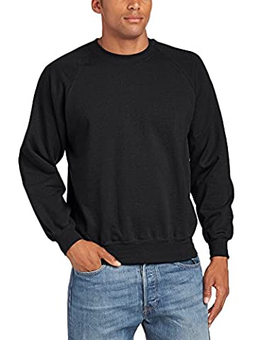Fruit of the Loom Men's Raglan Sleeve Crew Neck Sweatshirt, Black, Large