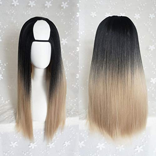 KHJK Haarstyling Lolita Harajuku Lange Seide Fluffy U-förmige Perücken Hitzebeständige Kunstfaser Ombre Gradient Dark Roots Hair für Cosplay 26 Zoll / 66 cm ()