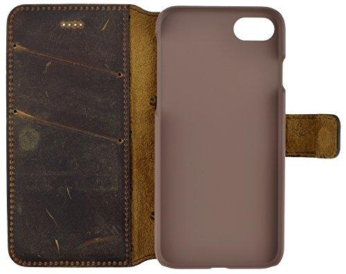 iPhone 7Plus | iPhone 7–Étui ordinateur portable style (slim fit) Étui en cuir Cuir Housse Coque Case Étui avec fonction support et compartiment carte) antik coffee