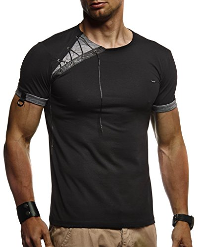 LEIF NELSON Herren Sommer T-Shirt Rundhals-Ausschnitt Slim Fit Baumwolle-Anteil | Moderner Männer T-Shirt Crew Neck Hoodie-Sweatshirt Kurzarm lang | LN1245 Schwarz XX-Large -