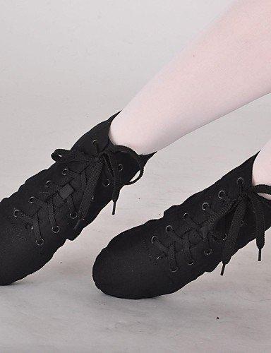 Chaussures De Danse Shangyi - Non Personnalisable - Femme - Danse Jazz - Sans Talon / Ballerine - Toile - Noir / Rouge / Blanc Rouge