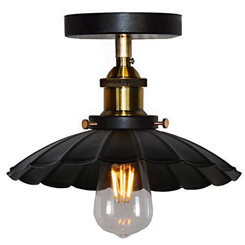 Huahan Haituo Decke Licht Modern Vintage Industrial Metal Schwarz Bronze Loft Bar lichten Schatten Retro Pendelleuchte Deckenleuchte (StyleB, schwarz) -