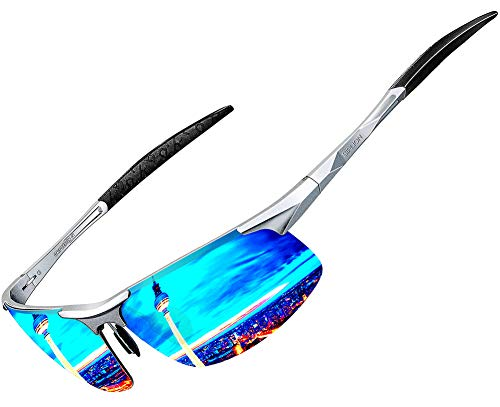 ATTCL Herren Polarisierte Treiber Glasses Sport Sonnenbrillen Al-Mg Metallrahme Ultra leicht 8177 Silber-Blau (Blau Polarisierten Sonnenbrillen)