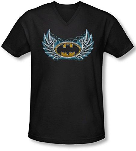 Batman - - Herren Stahl Flügel-Logo mit V-Ausschnitt T-Shirt, XX-Large, Black -