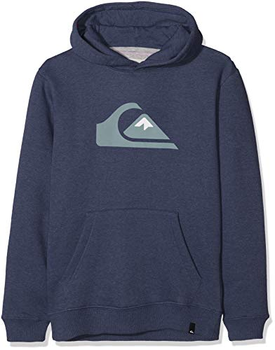 Quiksilver Jungen Big Logo Hood Youth Fleece Top, Medieval Blue Heather, L/14 -
