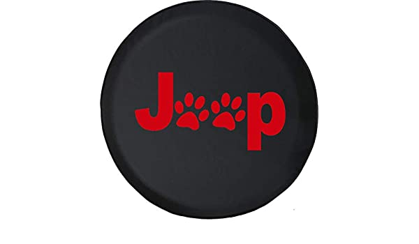 Black Size 32 Inch Spare Tire Cover Dog Paw Prints Animal Lover Fits: Jeep Wrangler Accessories, SUV, Camper and RV