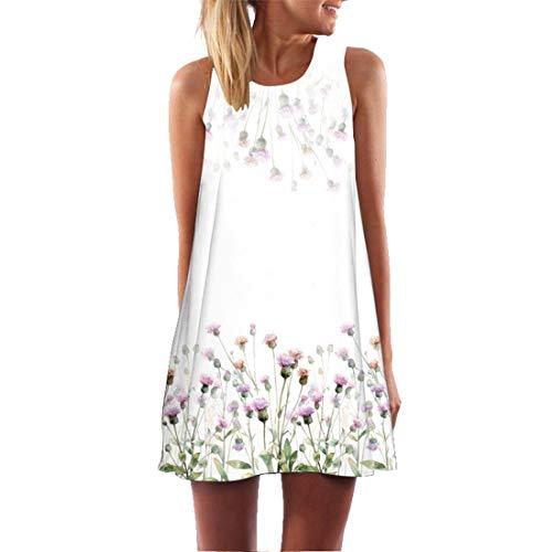binglinshang 2019 O Cou Floral Vintage Boho Beach Robe de Nouvelles Femmes sans Manches Sexy Dress Casual vêtements d'été Femme Mini Dress, M
