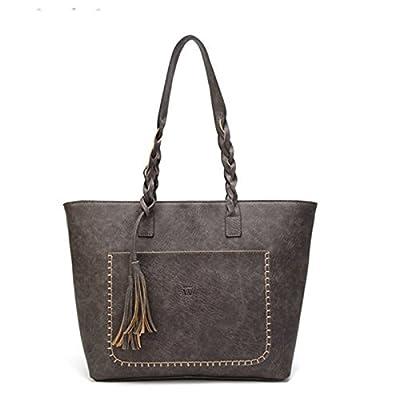 Vintage Sac à bandoulière PU Tassel Femmes rétro femme élégante dame Totes causale quotidienne Shopping sac à main