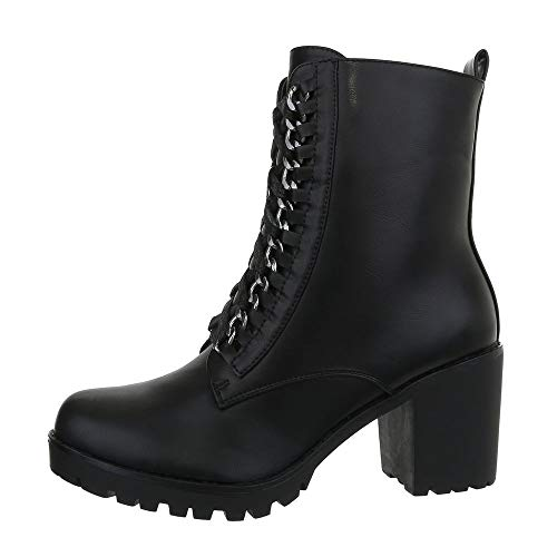 Ital-Design Damenschuhe Stiefeletten Schnürstiefeletten Synthetik Schwarz Gr. 36 Snake Boots