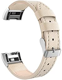 "Fitbit Charge 2 Band Genuine Leather Strap,RETECK Classic Adjustable Replacement Wristband for Fitbit Charge 2 Women Men Accessories Small size for 5.5""- 7.2"" wrist"