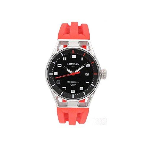 Montre Locman Montecristo 0541a01s-00bkrdsr automatique Titane Quandrante Noir Bracelet Silicone