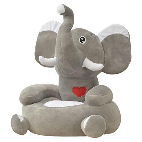 vidaXL - Poltrona di Peluche per Bambini, Motivo: Elefante, Colore: Grigio