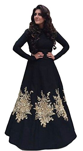 Clickedia Women\'s Heavy Dhupian Embroidered Semi Stitched Black Floor Length Gown - Dress Material