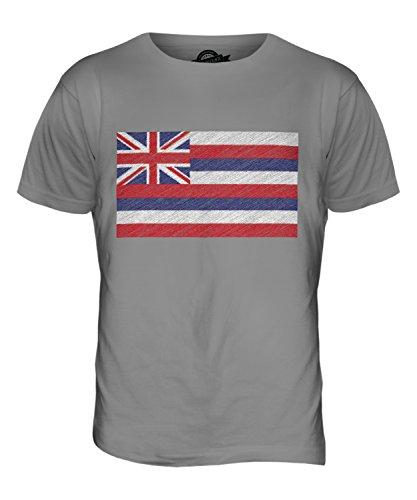 CandyMix Bundesstaat Hawaii Kritzelte Flagge Herren T Shirt Hellgrau