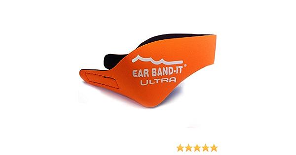 Ear Bandit Ultra Bandeau de natation pour adulte Orange fluo Taille L