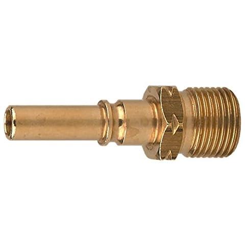 IBEDA Kupplungsstift N4 aus Messing mit Außengewinde für NKD, NKG und NKT Schlauchkupplungen für Brenngase und Sauerstoff, Ausführung:Sauerstoff G 3/8'' (Rh Außengewinde)