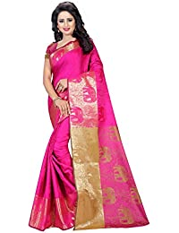 SATYAM WEAVES WOMEN'S ETHNIC WEAR POLYCOTTON SAREE WITH BLOUSE PIECE.(HATHI) (PINK)