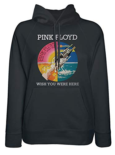 LaMAGLIERIA Sudadera Mujer Pink Floyd Wish You were Here - Sudadera con Capucha Rock Band, X-Large, Negro