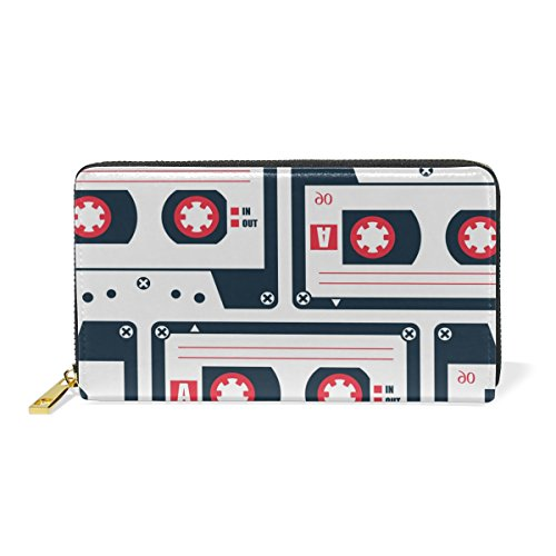 COOSUN Cassette patrón de la Cinta de Cuero Genuino de Gran Capacidad Titular de la Tarjeta Monedero Organizador con la Cremallera del Monedero del Embrague para L