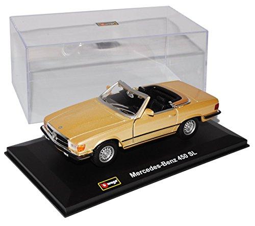 Preisvergleich Produktbild Mercedes-Benz 450SL Cabrio Gold R107 1971-1989 1/32 Bburago Modell Auto mit individiuellem Wunschkennzeichen