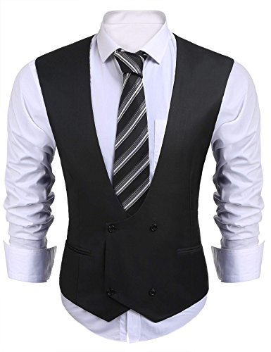 Coofandy Men V-Neck Sleeveless Double-breasted Solid Slim Fit Business Suit Vest