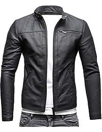 CRONE Epic Herren Lederjacke Cleane Leichte Basic Jacke aus weichem Schafs-Leder