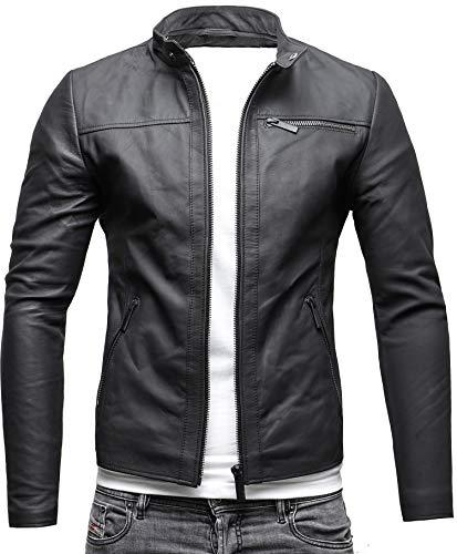 CRONE Epic Herren Lederjacke Cleane Leichte Basic Jacke aus weichem Schafs-Leder (L, Matt Schwarz)