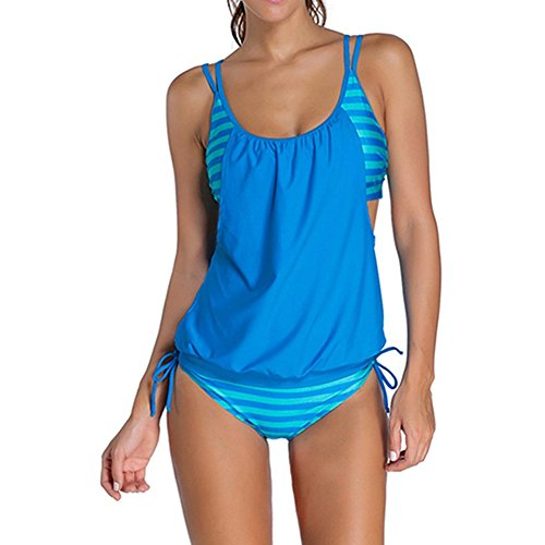 MORESAVE Womens righe spiaggia dello Swimwear due pezzi senza spalline Bandage costume da bagno bikini imbottito