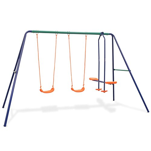 FZYHFA Schaukel-Set mit 4 Sitzen aus Stahl und Kunststoff, 324 x 155 x 182 cm, Orange