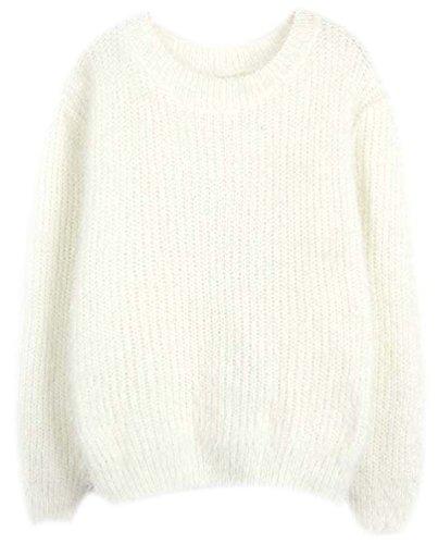 Pullover Donna Maglione Girocollo Maglie Mohair Manica Lunga Femminili Maglieria Da Signora Tops Autunno Inverno Cappotto bianca