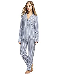 DUKUNKUN Conjunto Pijama De Rayas Casuales De Manga Larga Cintura Elástica Noche Vestido De Casa Desgaste