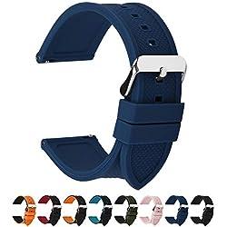 Fullmosa 18mm 20mm 22mm 24mm Bracelet Montre en Silicone Souple, 8 Couleurs Rainbow Bracelet de Montre Caoutchouc de Silicone à Libération Rapide, 22mm Bleu Foncé