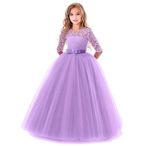 OBEEII Robe de Mariée Enfants Fille 3 4 Manche en Dentelle Florale Elegante  Costume Habillé 7ccb1eaa366