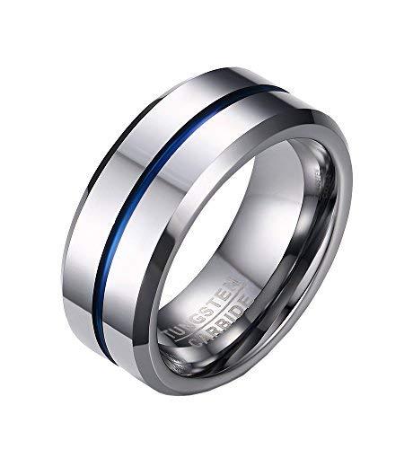 PMTIER Hombres 8MM Azul EstriadoTungsteno Anillo bodas