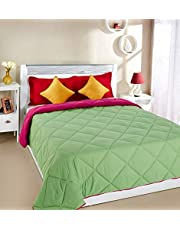 Amazon Brand - Solimo Microfibre Reversible Comforter, Double, Green and Red