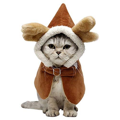 Für Antlers Kostüm Hunde - Weihnachts Kostüm fur Haustier Katzen, Hündchen Antlers Haustier Kleidung mit Warm und Gemütlich für Kätzchen für die Halloween