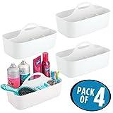 mDesign 4er-Set Duschkorb mit je 6 Fächern – Aufbewahrungskorb aus Kunststoff für Badaccessoires – Duschablage für Duschgel, Shampoo, Rasierer und Co. – weiss