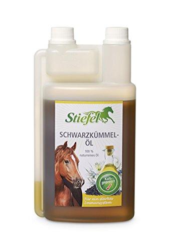 Stivali schwarzkümmelöl 1litro per cavalli per le difese immunitarie, pelle, pelliccia + vie respiratorie