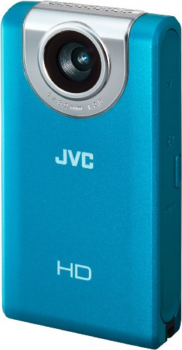 JVC GC-FM2AEU Full HD Pocket Camcorder (SD/SDHC/SDXC Slot, 5 MP, 4-Fach digitaler Zoom, 7,6 cm (3 Zoll) Display) blau