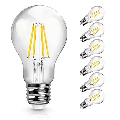 SHINE HAI 6er Pack E27 Retrofit Classic LED Lampe ersetzt 40W, 4W 470 Lumen, 2700K Warmweiss klassische Kolbenform, 360° 230V AC mit Glas-Gehäuse, nicht dimmbar