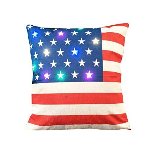 LIOOBO Funda de Almohada de Lino navideña de 45 x 45 cm Patrón de Bandera Americana Fundas de cojín...