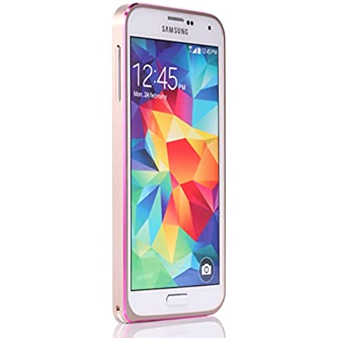Galaxy S5 i9600 Funda by Casefashion, Hard Metal Bumper Frame Case [Slim Fit] Lightweight [Hippocampal Buckle] Anti-Scratch Side Protection Cover para Samsung Galaxy S5 i9600 - Oro, Rosa