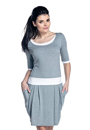 Zeta Ville - Vestido de lactancia en capas detalles del contraste - mujer - 698c (Mezcla De Grises, EU 40/42, XL)
