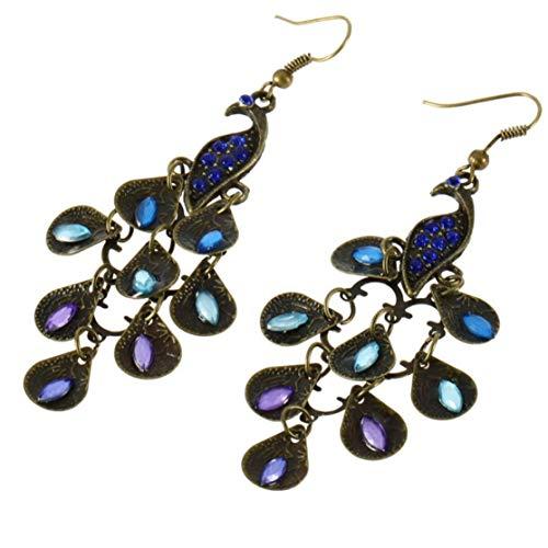 LouiseEvel215 Femme Style bohème Lady Long Pendentif Vintage Rétro Bleu Étincelant Strass Paon Plume Boucles D'oreilles -