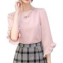 082d07ef2b351 Theshy Mujer Oficina De Trabajo Verano V Cuello con Volantes Manga Blusa  Gasa SóLida Top Camisa